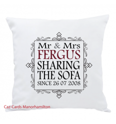 Sharing The Sofa Since..... Cushion Personalised