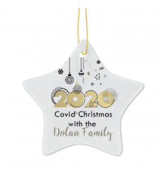 2020 Covid Christmas Personalised Star Tree Decoration