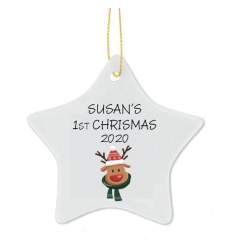 1st Christmas Personalised Star Tree Decoration