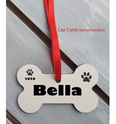 Dog Bone Personalised Tree Decoration