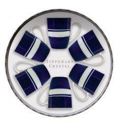 Navy Brushstroke Design Set of 6 Mugs from Tipperary Crystal
