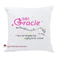 Personalised Baby Girl Keepsake Cushion