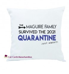 QUARANTINE Family Name Cushion Personalised