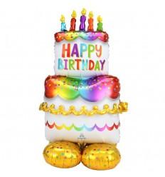"""BIRTHDAY CAKE Balloon - 4ft 7"""" tall"""