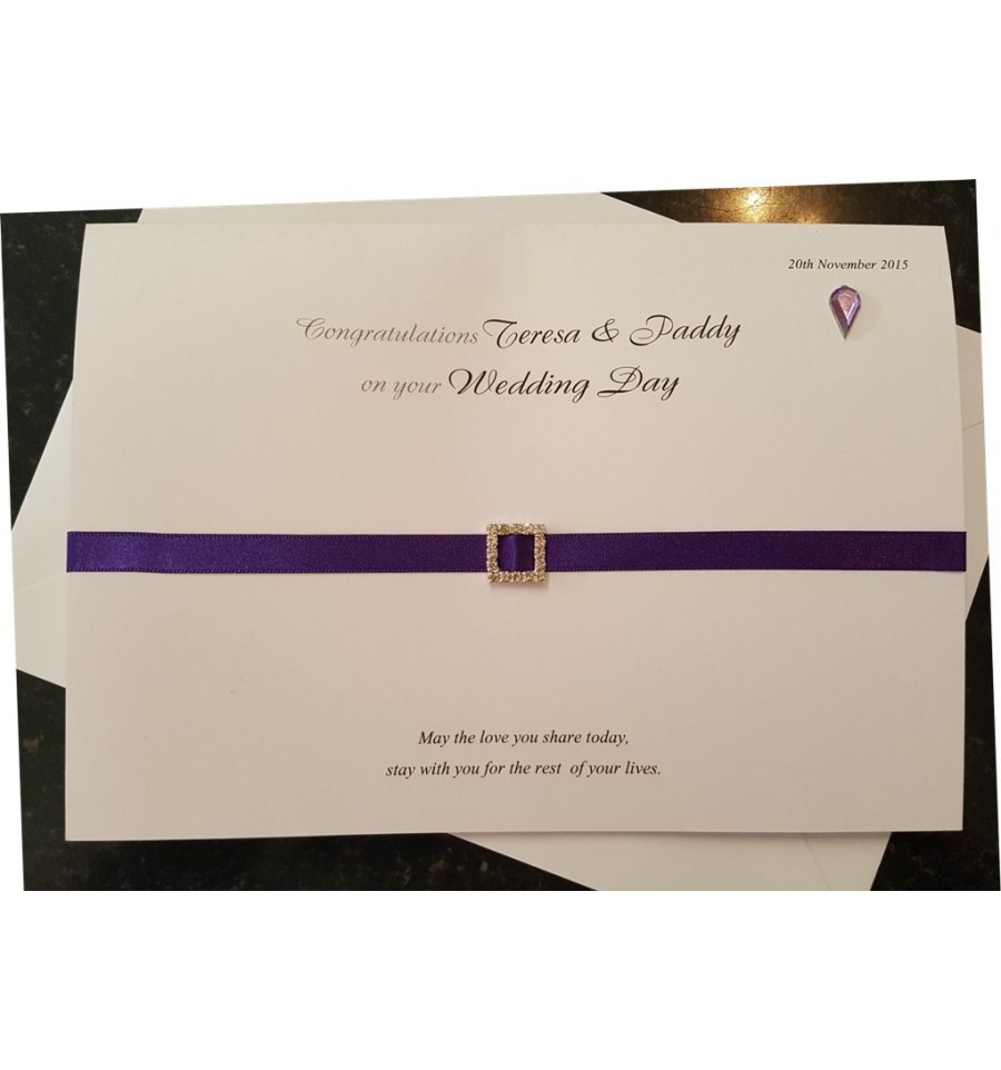 Wedding personalised card with diamante buckle|Caz-Cards Manorhamilton