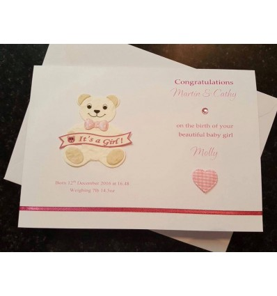 Baby Girl Personalised Card - 3