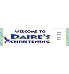 Christening Banner Blue Stars